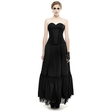 Black Linen Laced Gothic Blackless Sexy Strapless Dress Halter Lace Hollow Tube Top Frill High Waist Dress