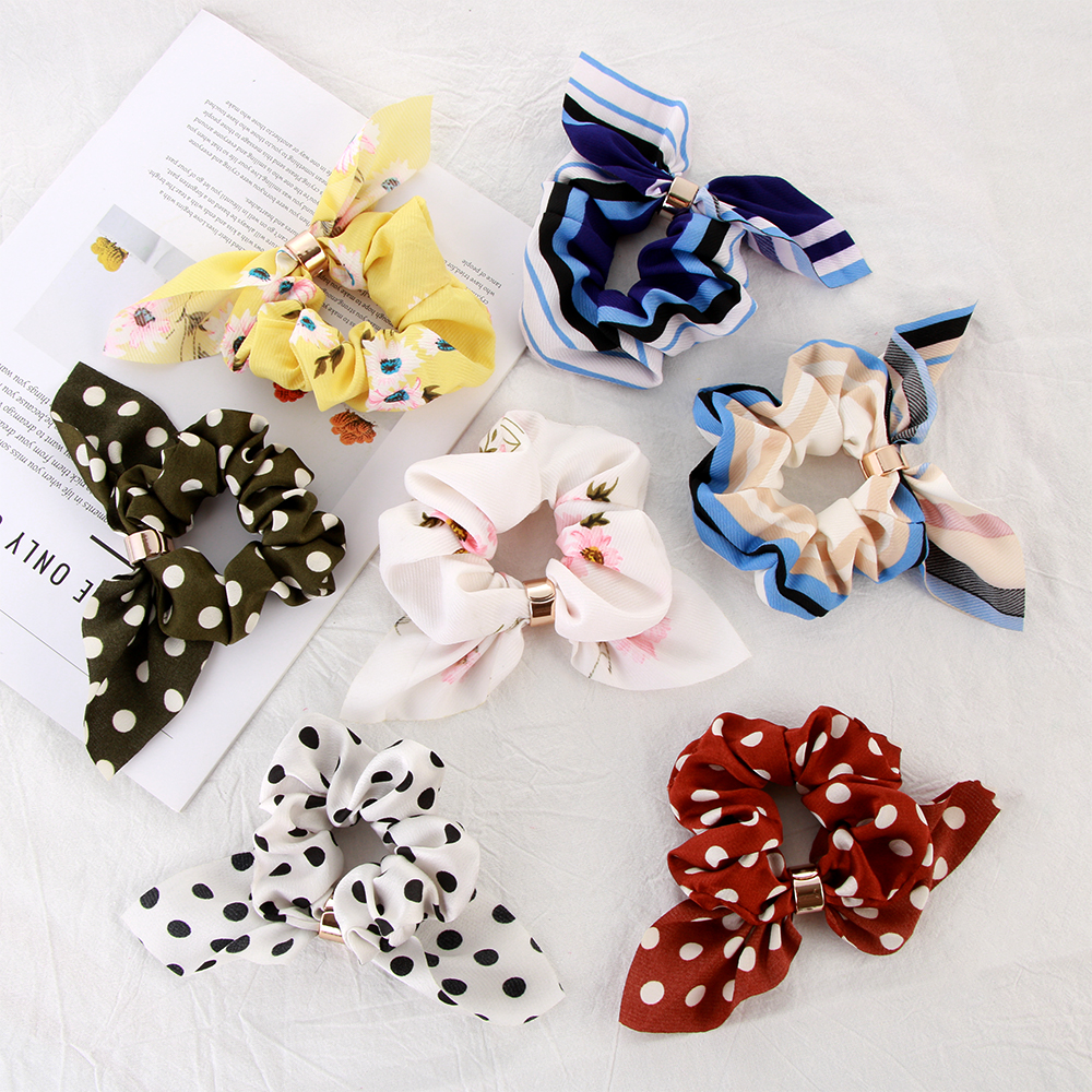 Chiffon Bowknot Scrunchies Bunny Ears Hair Ring Stretch Hair tie Ponytail Holder