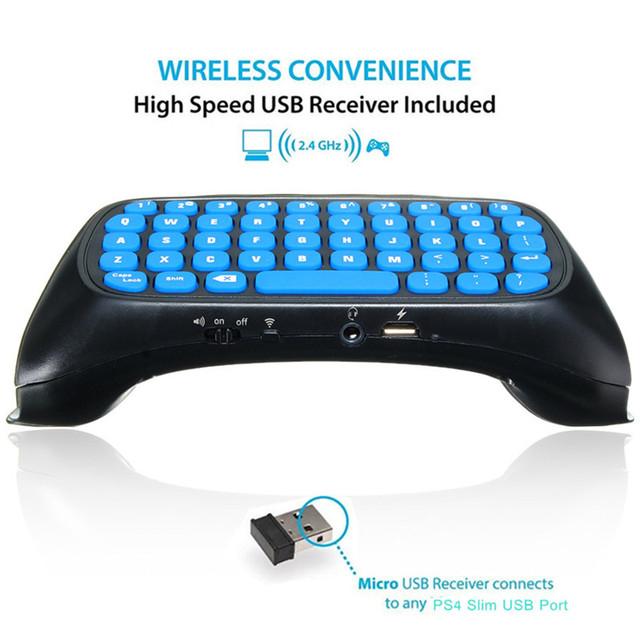 Preto Mini 2.4G Acessório 47 Teclas Do Teclado Chatpad Mensagem Sem Fio Com Receptor USB Para PS4 Controlador Sem Fio Fino