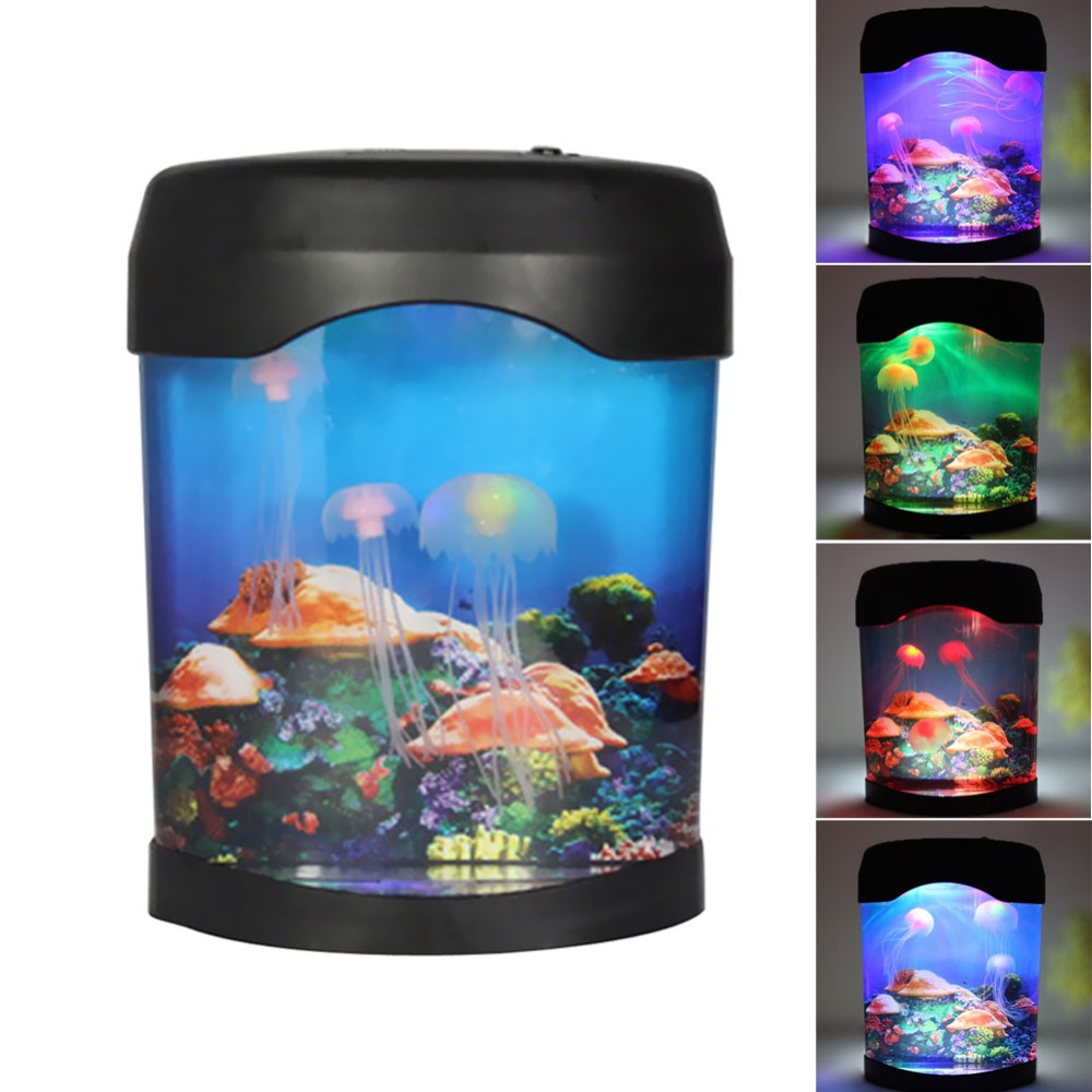 Fish tank night light - Sea World Led Jellyfish Fish Tank Aquarium Lamp Nightlight Light Multicolor Aquarium Accessories