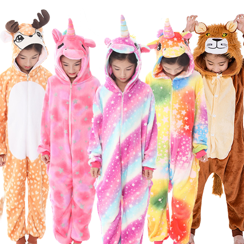 Kids Unicorn Onesie Kigurumi Pajamas Boys Girls Animal Panda Jumpsuit Baby Pyjama Children Sleepwear Winter Sleepers Blanket