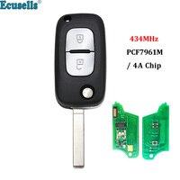 Botão do Controle Remoto Key Fob 434MHz PCF7961M 2 4A Chip para Renault Megane Símbolo 3 Captur Kadjar 2013-2017 VA2 lâmina sem cortes