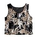 Women Lady Summer Vest Crop Top Blouse Sexy Sequin Sleeveless Tank Tops T-Shirt