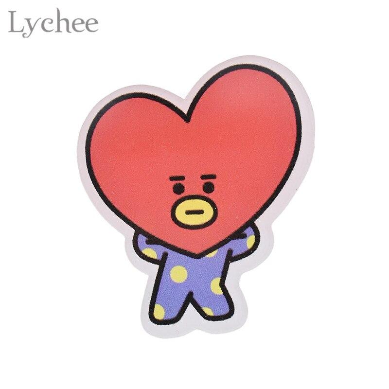 Lychee Hot KPOP BTS BT21 Brooch Bangtan Cartoon Arcylic Brooch Pin New Trendy Clothes Accessories For Women