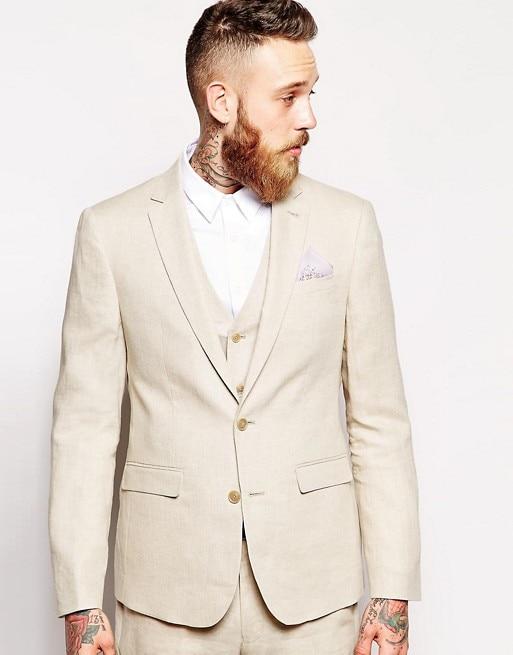 2017 Latest Coat Pant Designs Beige Linen Beach Men Suit Slim Fit 3 Piece Casual Blazer Custom Tuxedo Prom Suits Terno Masculino