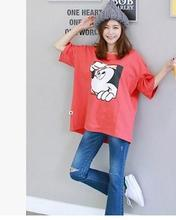 2016 summer Korean cartoon printed maternity clothes loose cotton T-shirt for pregnant women maternity tops SH-9444JYF