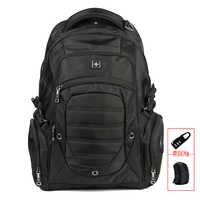 Mochila negra de 17 pulgadas para hombres, Mochila Masculina impermeable para ordenador portátil, mochila negra para estudiantes sw9275i
