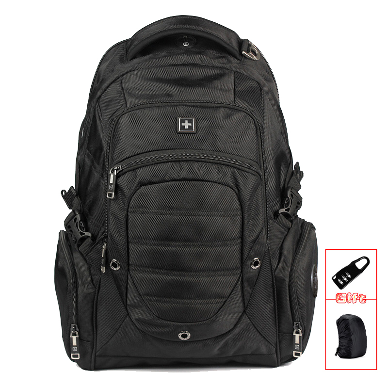 Suissewin armée 17 pouces mochila hommes noir sacs à dos Mochila Masculina étanche sac à dos pour ordinateur portable noir sac étudiants sw9275i