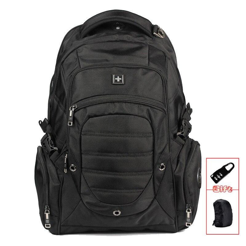Suissewin exército 17 polegada mochilas preto masculino mochila portátil à prova dwaterproof água saco preto estudantes sw9275i