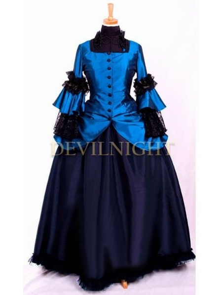 Blue Vintage Long Sleeves Victorian Gown French Victorian Dress