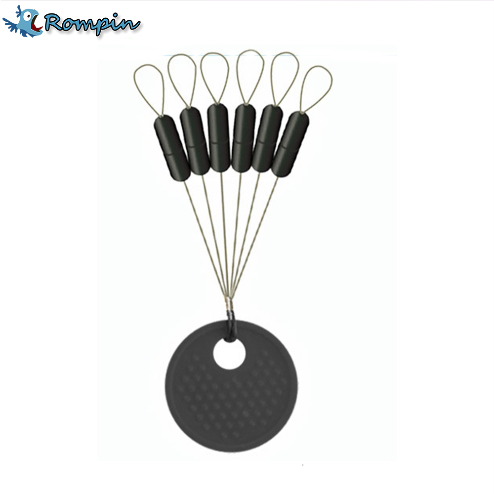 Rompin 10Pcs 6 in 1 Size SS S M L Black Rubber Stopper Fishing Bobber Float Space bean Stopper Folat Line Stoppers Bobber Stops цена 2017