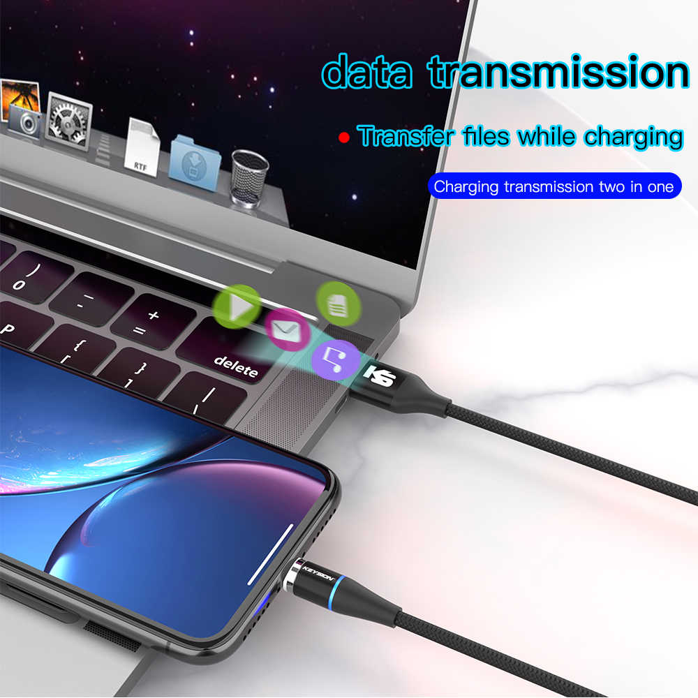 KEYSION 5A سوبر سريع شحن المغناطيسي نوع-C كابل علامة هواوي المصغّر usb C 3A الهاتف المغناطيس شاحن آيفون سامسونج Xiaomi