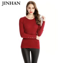 JINHAN Cusual Frauen Oansatz Dünne Pullover Button Volle Hülse 2018 Neue  frühlingsmode Frauen Pullover Braun Feste Pullover JHS-. d3d035b9da