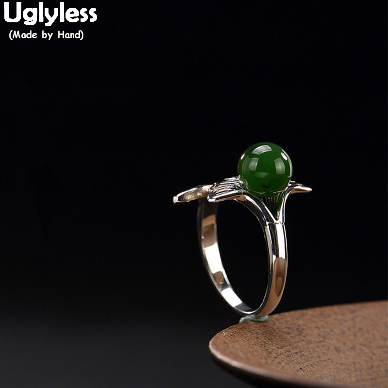 Uglyless Real S 925 Sterling Silver Nature Jasper Balls Women Finger Rings Handmade Engraved Ginkgo Leaf Ring Green Jade Bijoux nature s plea