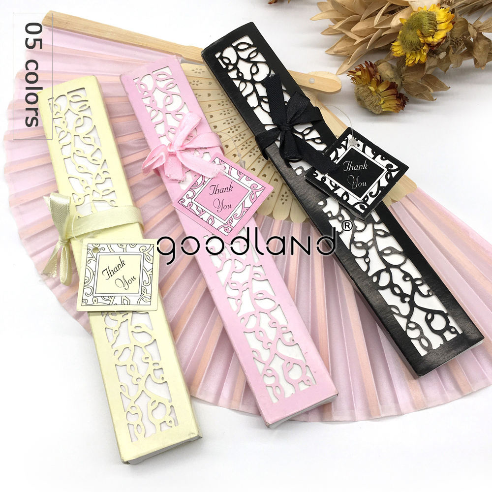 FREE SHIPPING 100pcs lot Spun Silk Fold hand Fan in Elegant Laser Cut Gift Box Black