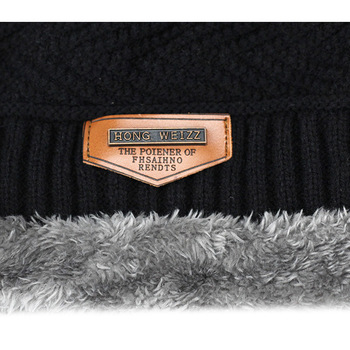 Knitted black hats Fall Hat Thick and warm and Bonnet Skullies Beanie Soft Knitted Beanies Cotton 5