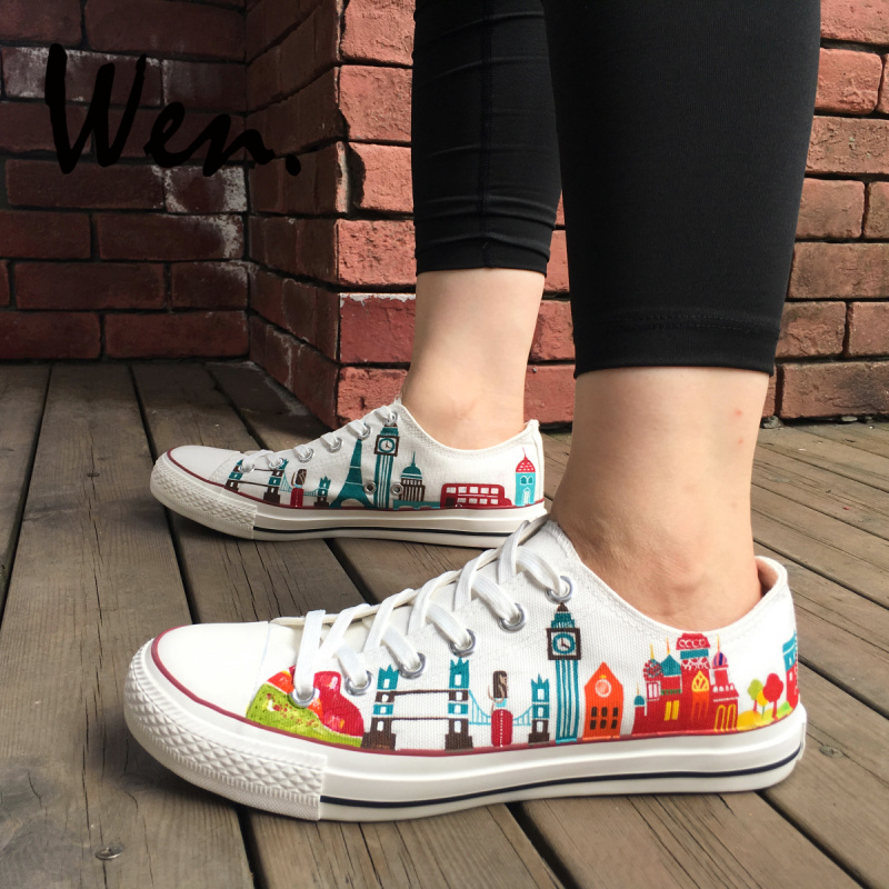 5d5e5a6b61fbe US $65.0  WEN Custom Original Hand Painted Shoes Design Travel Around The  World Famous City Landmarks Low Top Lace Up Canvas Sneakers-in  Skateboarding ...