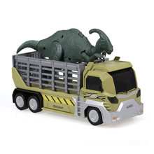 Dinosaurs Transport Car Carrier Truck Toy Parasaurolophus Pull Back Dinosaur Cars Gift for Kids vs TOYS RC Parts(China)