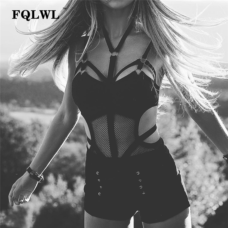 FQLWL Transparent Bodycon Mesh Bodysuit Sexy Halter Neck Black Top Femme Backless Bandage Rompers Womens Jumpsuit Summer Overall