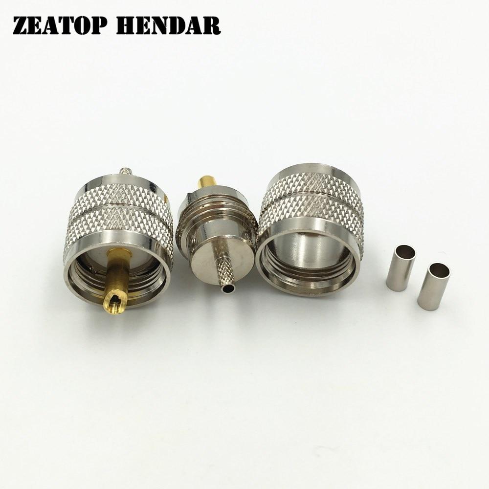 100Pcs Brass UHF PL259 Male Plug Crimp for RG174 RG316 LMR100 Cable Wire Straight Jack RF