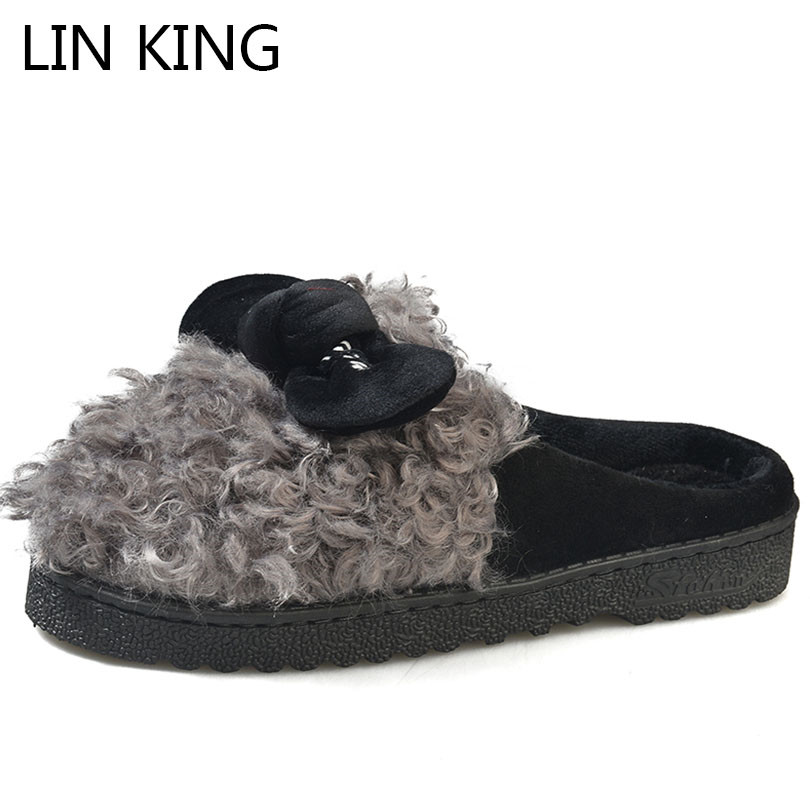 LIN KING Cute Bowtie Women Home Slippers Winter Warm Plush Indoor Slippers Slip On Lazy Cotton Shoes Non-slip Ladies Floor Shoes недорго, оригинальная цена