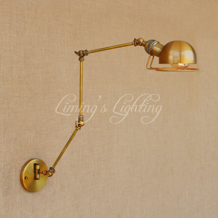 Gold Copper Swing Long Arm Vintage Wall Lamp LED Edison Retro Loft Industrial Wall Light ...