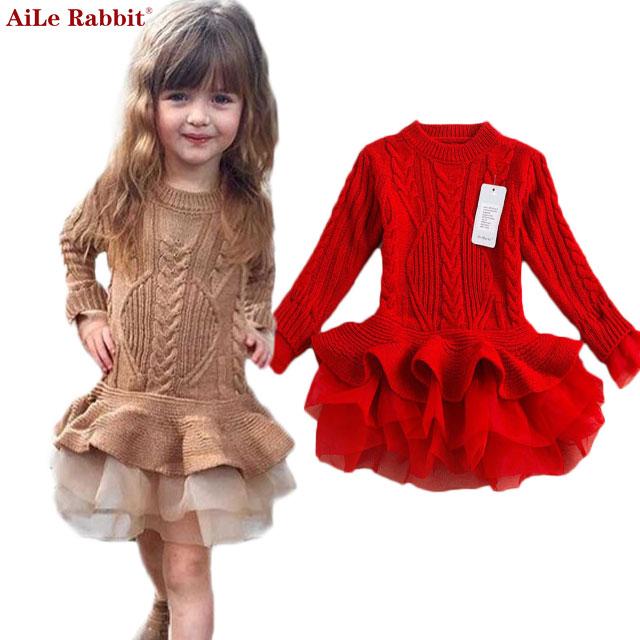 Girls Dress 2017 Winter Pullover Knitted Sweaters Ball Gown Dress Long Sleeve Outerwears O-neck Kids Knitwear 3-7Y