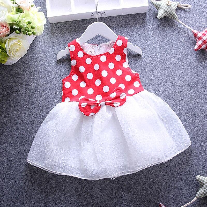 2017 Newborn Girl s Baby Dress Dots Minnie Bow Fashion Wave Point Sleeveless Vest Dress New