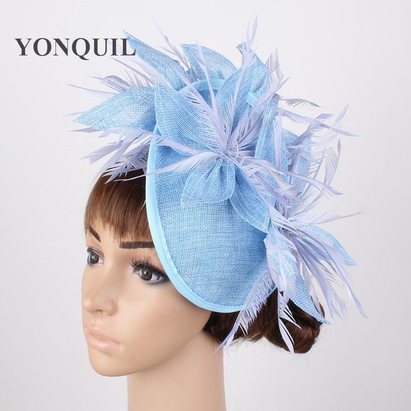 New Light Blue Chic Hair Fascinator Female Millinery Hats Wedding Elegant Headband Fedora Marry Event Headdress For Ladies Party