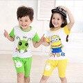 Sistema de la ropa Camisetas Verano de Los Cabritos Muchachos de la Camiseta Shorts Set niños de Manga Corta Camisa de la Ropa de Los Niños Juego Del Deporte Del Muchacho Outfit