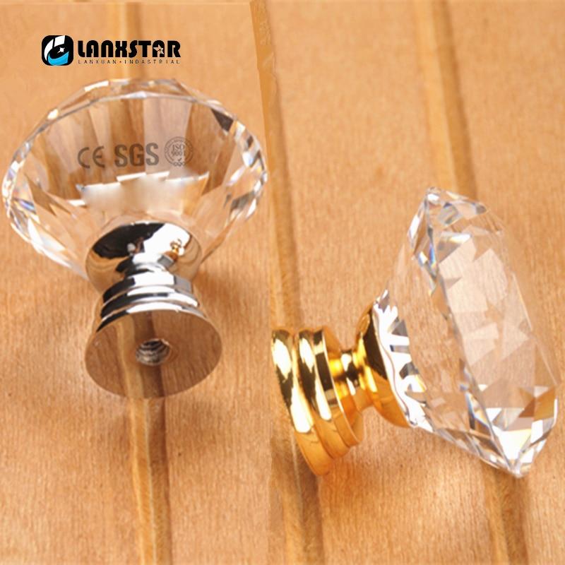 HOTEU 8 Piezas De Corte De Diamante Cristal Transparente Caj/ón De Cocina Perilla De Puerta Armario Tirador Herrajes Con Tornillo Para El Caj/ón Del Gabinete