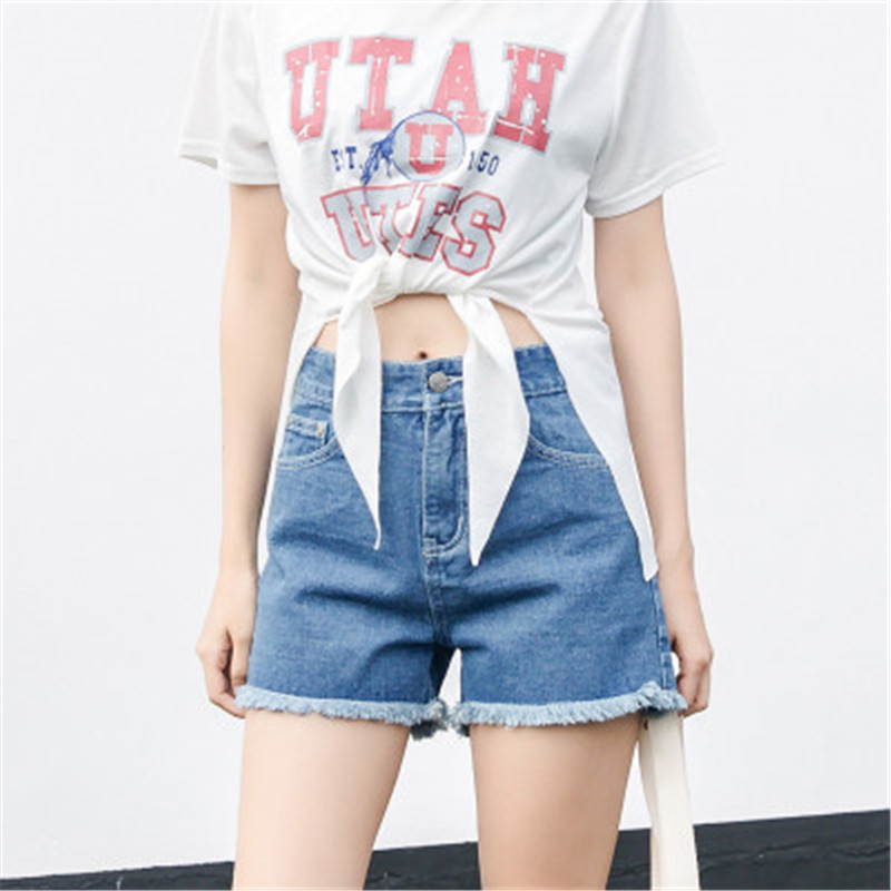 2017 spring and summer loose roll-up hem white a high waist plus size denim shorts female shorts