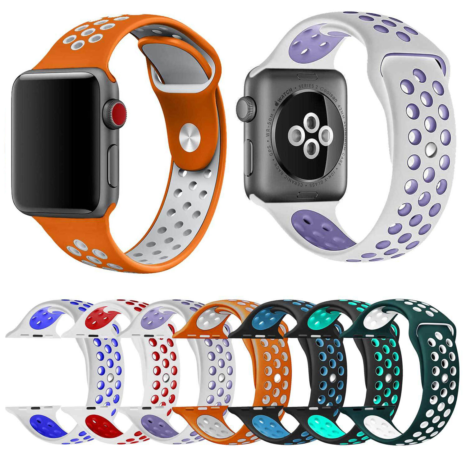 ᗑnew Breathable Silicone Sports Band For Apple Watch Series 1 2 3