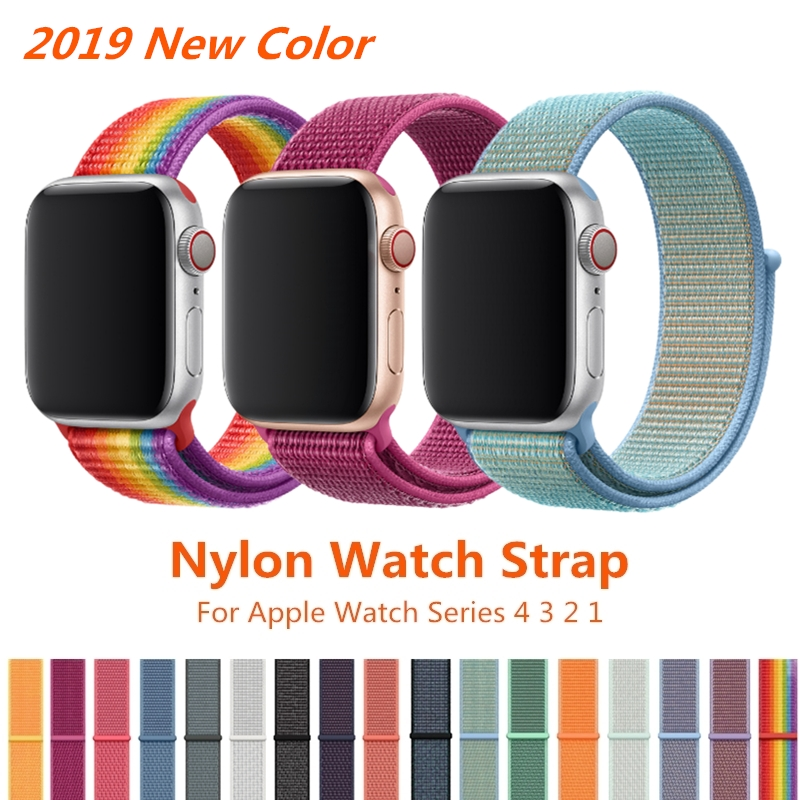 Sport Loop Strap For <font><b>Apple</b></font> <font><b>Watch</b></font> Band 5 4 44mm 40mm <font><b>42mm</b></font> 38mm iWatch Series 4 <font><b>3</b></font> 2 1 <font><b>Correa</b></font> Nylon Wrist Bracelet <font><b>Watch</b></font> Accessories image