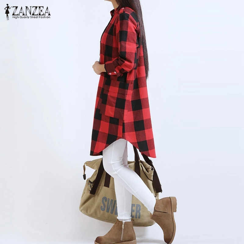 ZANZEA 2019 Весенняя женская клетчатая рубашка бойфренда с длинным рукавом из хлопка, все совпадающие Нерегулярные Повседневные Блузки больших размеров Blusas топы