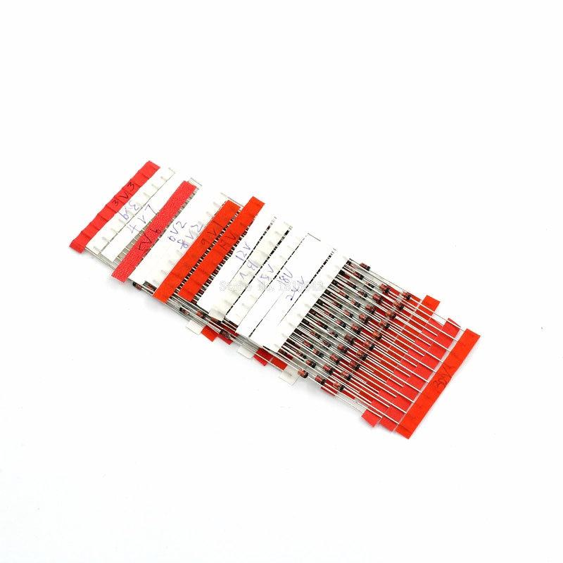 70Pcs 14 Values 1W Zener Diode Assorted kit Assortment Set 3.3V~30V CL