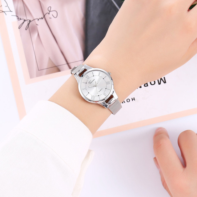 vansvar Casual Quartz Stainless Steel Band New Strap Watch Analog Wrist Watch Simple Watches Rhinestones Dress Woman Watch Rose 1