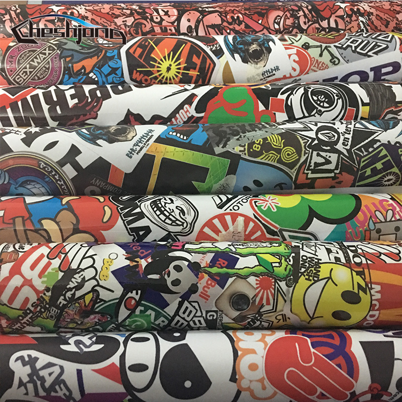 JDM Stickerbomb Vinyl Wrap Car Motorcycle Decal Mirror Phone Laptop DIY Styling Graffiti Bomb Sticker Film Sheet