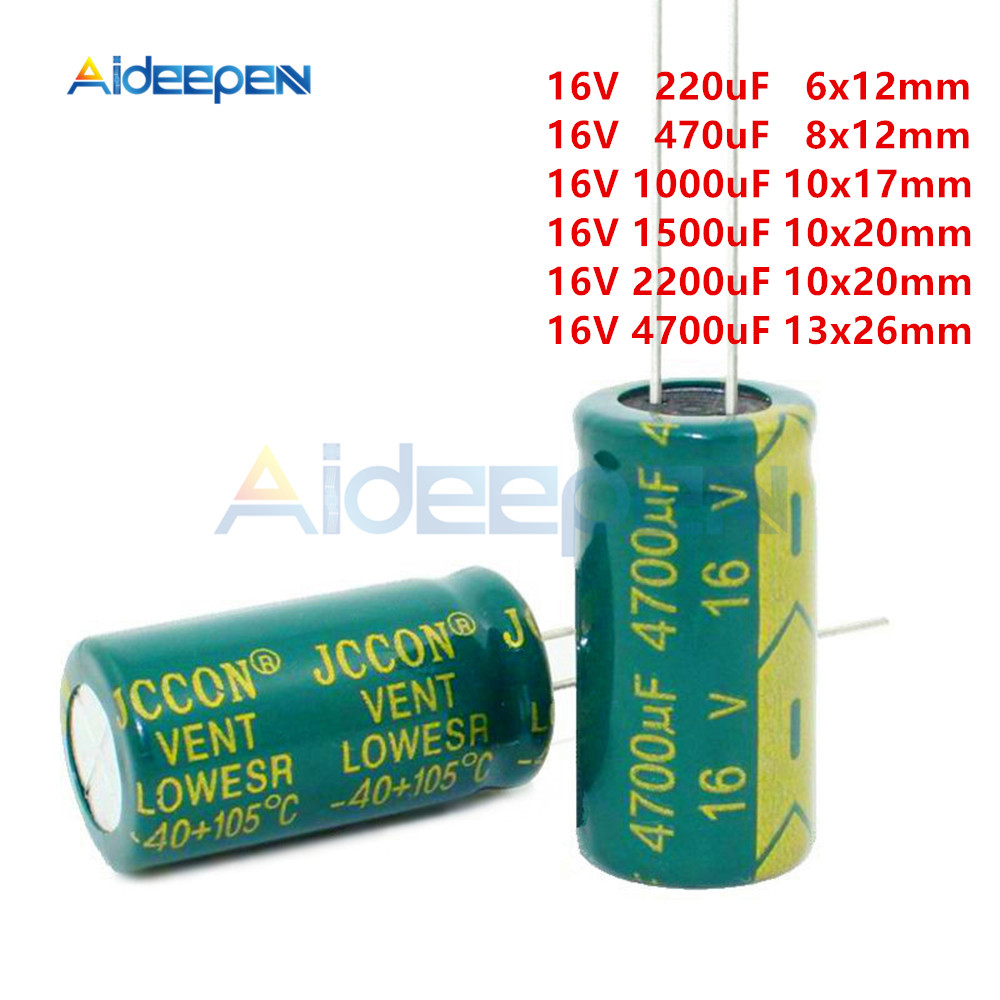 20pcs/Lot 16V Aluminum Electrolytic Capacitors High Frequency Low Resistance 220uF 470uF 1000uF 1500uF 2200uF 4700uF