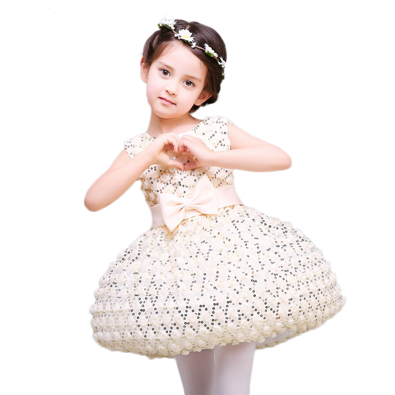 Kids Dress For Girls Dress Summer 2017 Fashion Princess Bow Lace Embroidery Sequined Girls Dress For Wedding and Prom Party P21