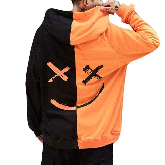 Lncdis мода плюс размеры толстовки любителей Улыбка печати белый черный Свитшот Мужская пуловер с капюшоном уличная Sudadera Hombre 5