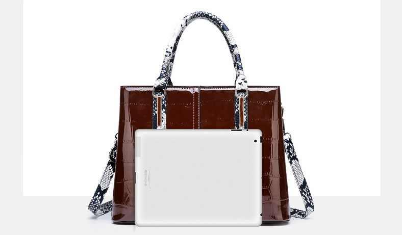 Nouveau Crocodile femmes fourre-tout en cuir verni véritable sac à main de luxe concepteur dames sacs rétro sac à bandoulière grand sac femme 2019 C950