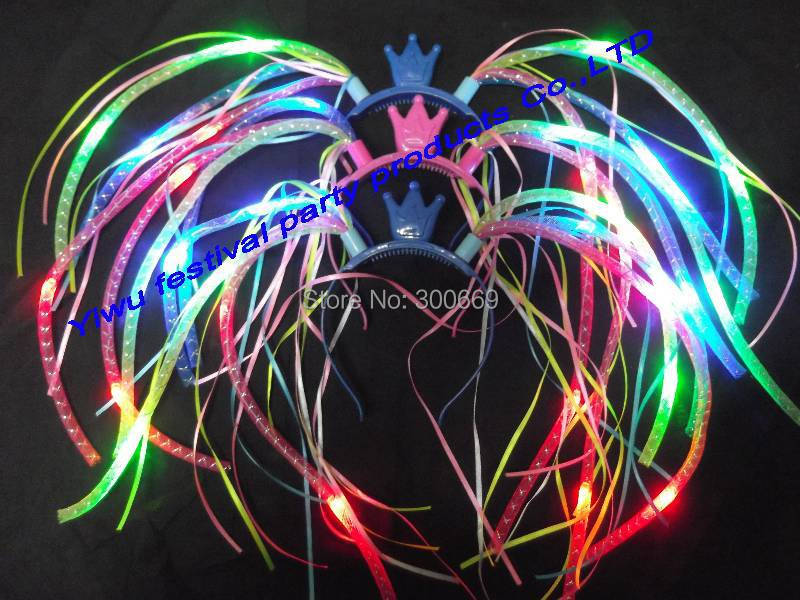 freeshipping new neon party flashing light up led noodle headbandhairband color halloween party supplies bar club decorations