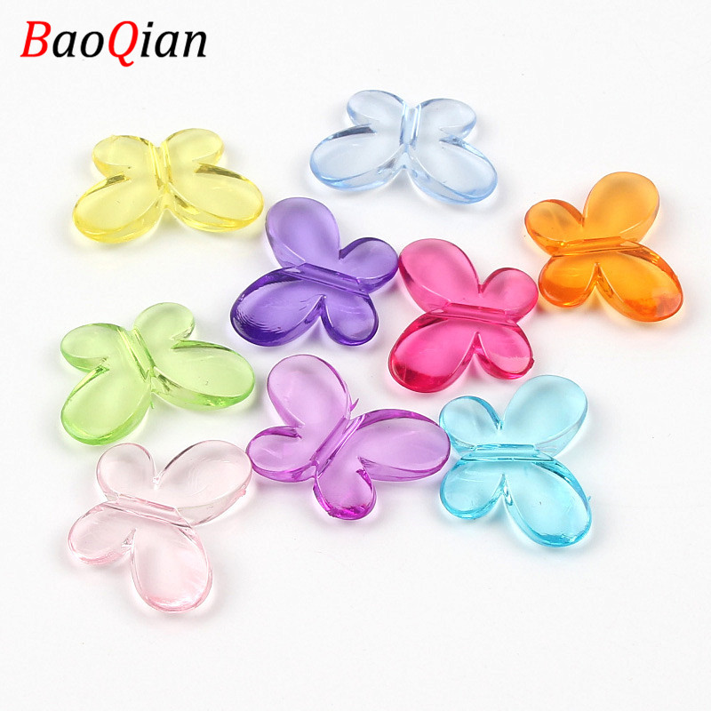 20PCS Transparent Acrylic Beads DIY Candy Color Butterfly Fashion Loose Beads Making Bracelet Jewelry Accessories 22x30mm(China)