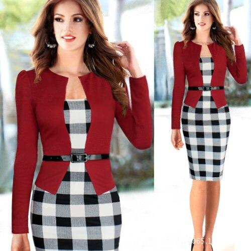 femmes business combinaisons patchwork vetements de travail 2015 linge de mode bureau robe a manches longues retro vintage gaine crayon moulante robe dans