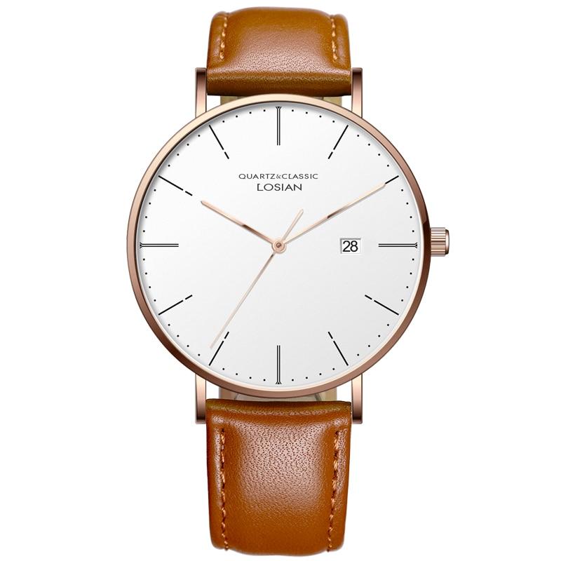 LOSIAN Men's Watches Fashion Slim Waterproof Calendar Simple Leisure Belt Quartz Watch Tops Quality Watches No Box