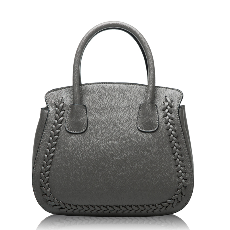 2018 Fashion Socialite Women Shell Shoulder Bags Famous Brands Knitting Genuine Leather Women Handbags Ladies Tote Bags Gray chispaulo women genuine leather handbags cowhide patent famous brands designer handbags high quality tote bag bolsa tassel c165