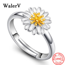 Trendy 100% S990 Sterling Silver Fashion Sunflower Flower Finger Opening Rings for Women 925 Wedding Jewelry