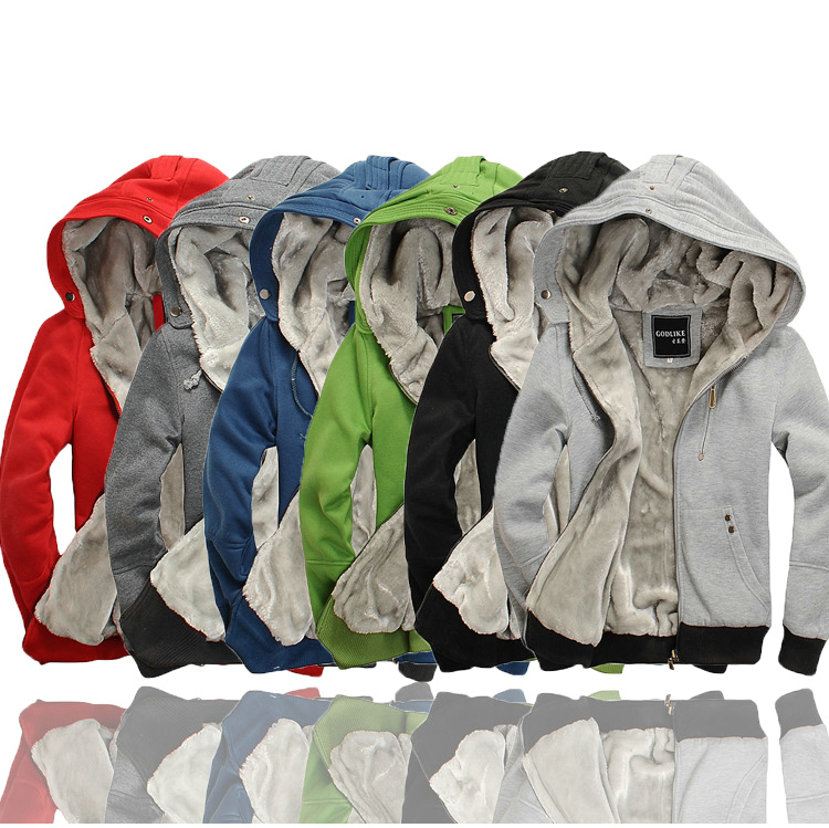 Mens New Sweatshirt Sweater Fleece Sherpa Zip Hooded Hoodie Jumper Fleece Warm