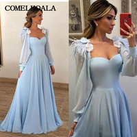 Elegant Long Sleeve Formal Evening Dress With Feathers 3D Flower Sweetheart Chiffon Floor Length Womens Prom Plus Size Gowns